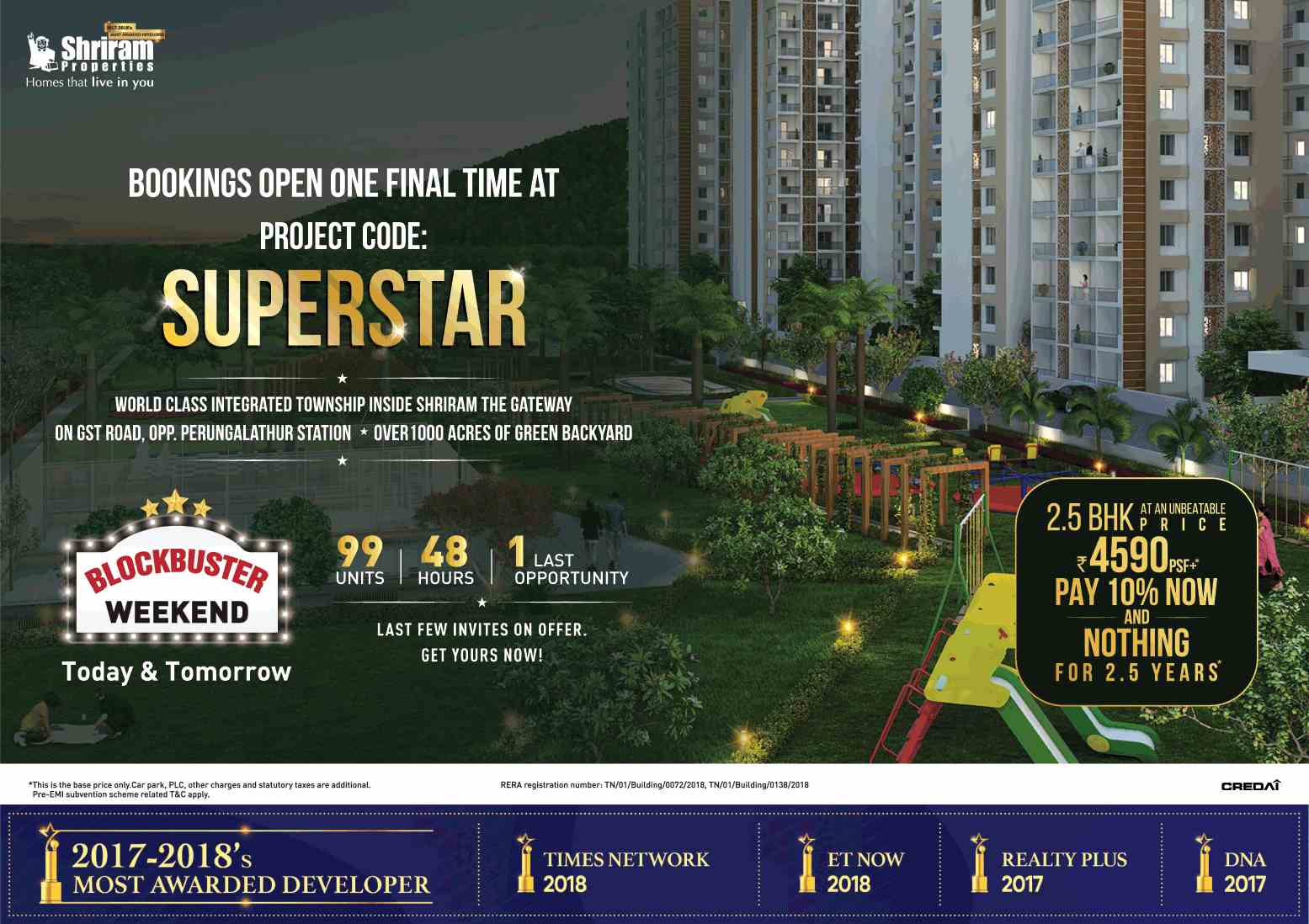 Pay 10 now and nothing for 2 5 years at Shriram Code Superstar in Chennai