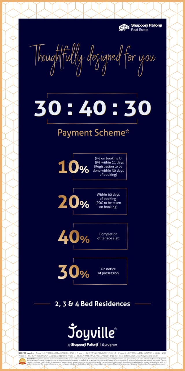 Introducing 30 40 30 payment scheme at Shapoorji Pallonji Joyville in Dwarka Expressway Gurgaon
