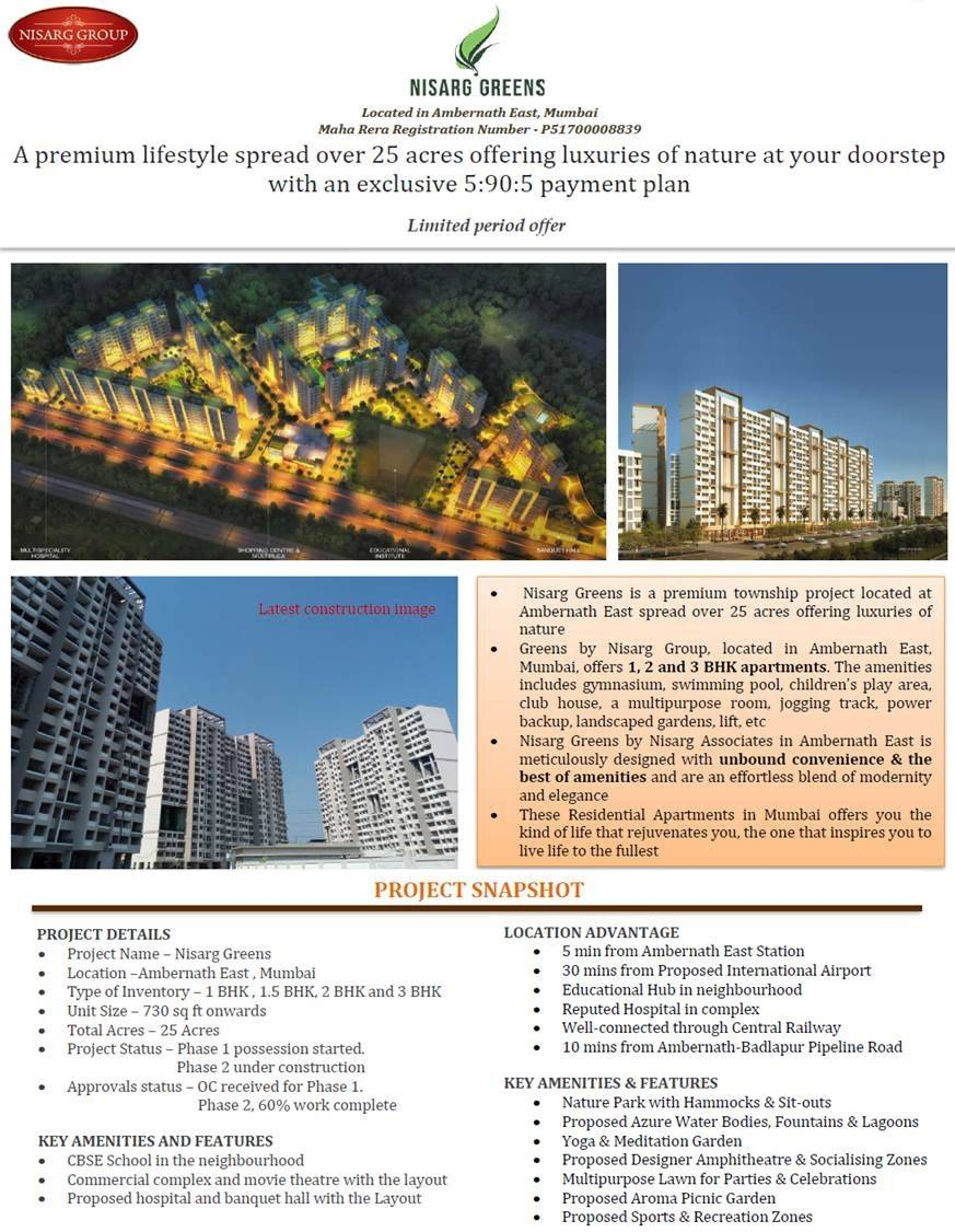 Avail exclusive 5 90 5 payment plan at Nisarg Greens in Mumbai
