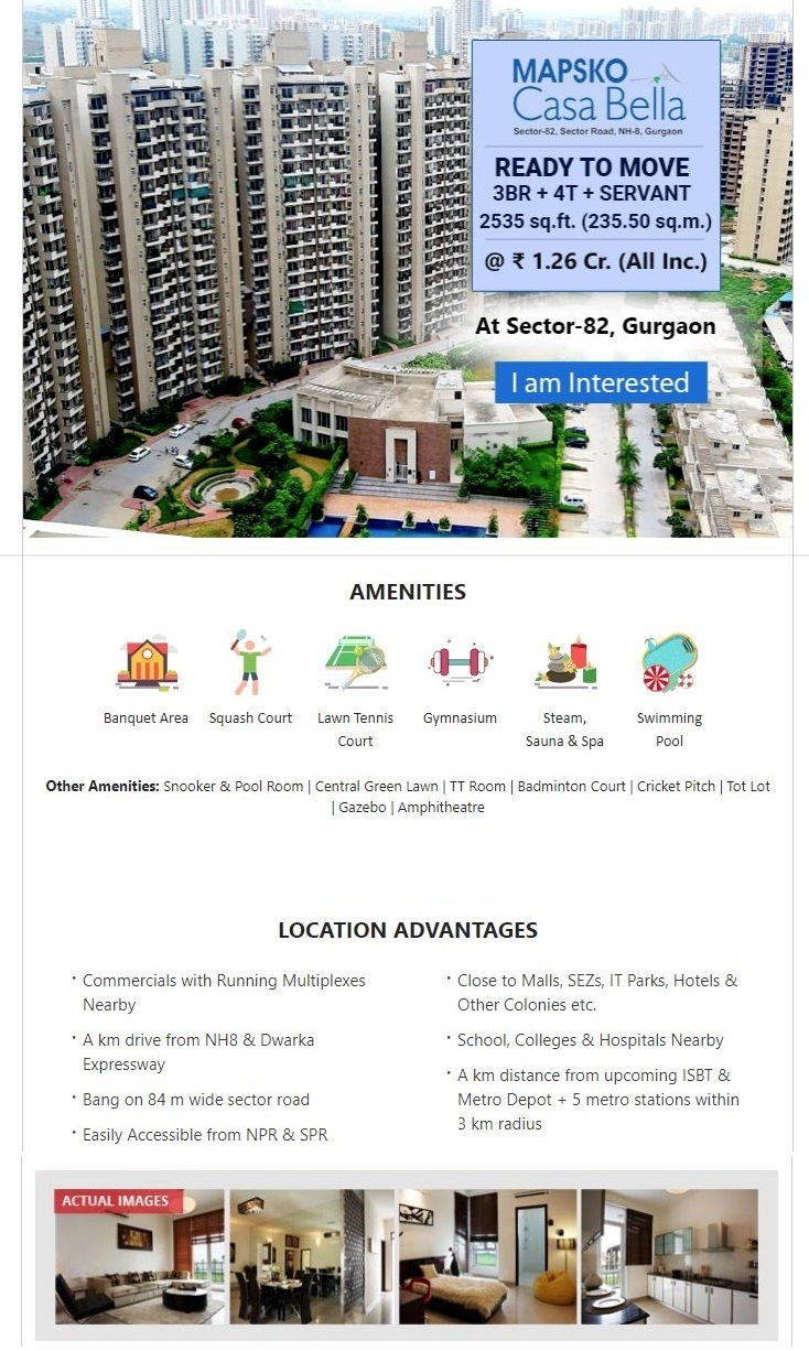 Mapsko Casa Bella Ready to move 3BR 4T Servant 2535 sqft for 1 26 cr in Gurgaon