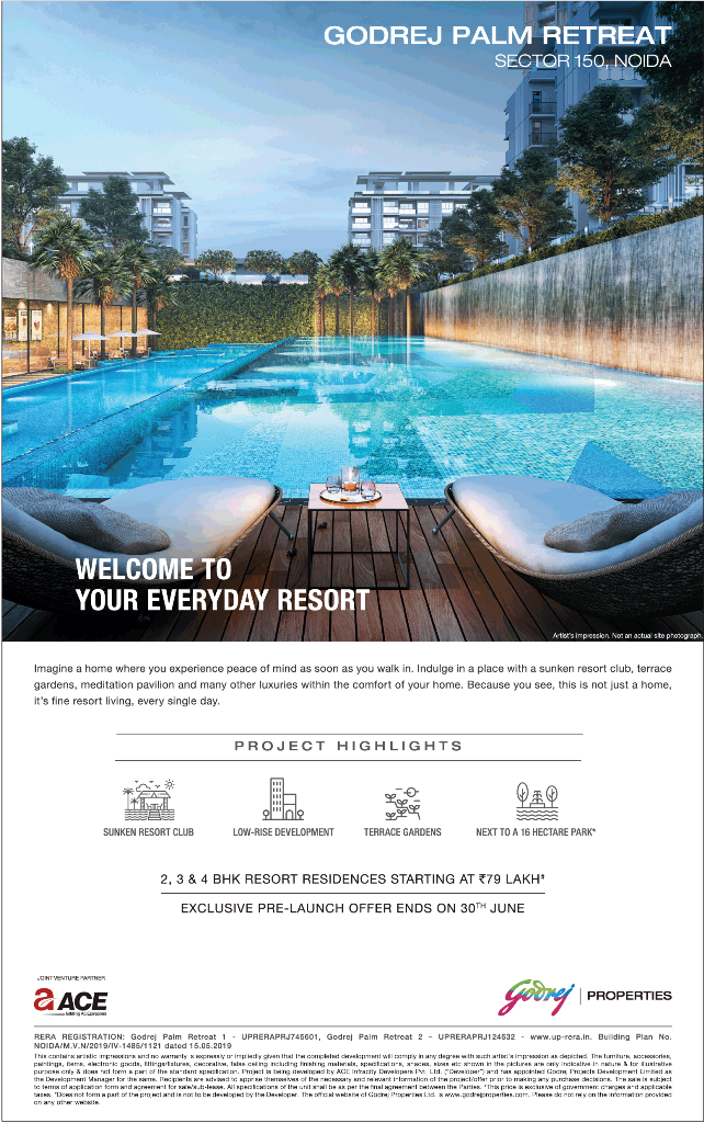 Exclusive pre launch offer ends on 30th June at Godrej Palm Retreat in Noida
