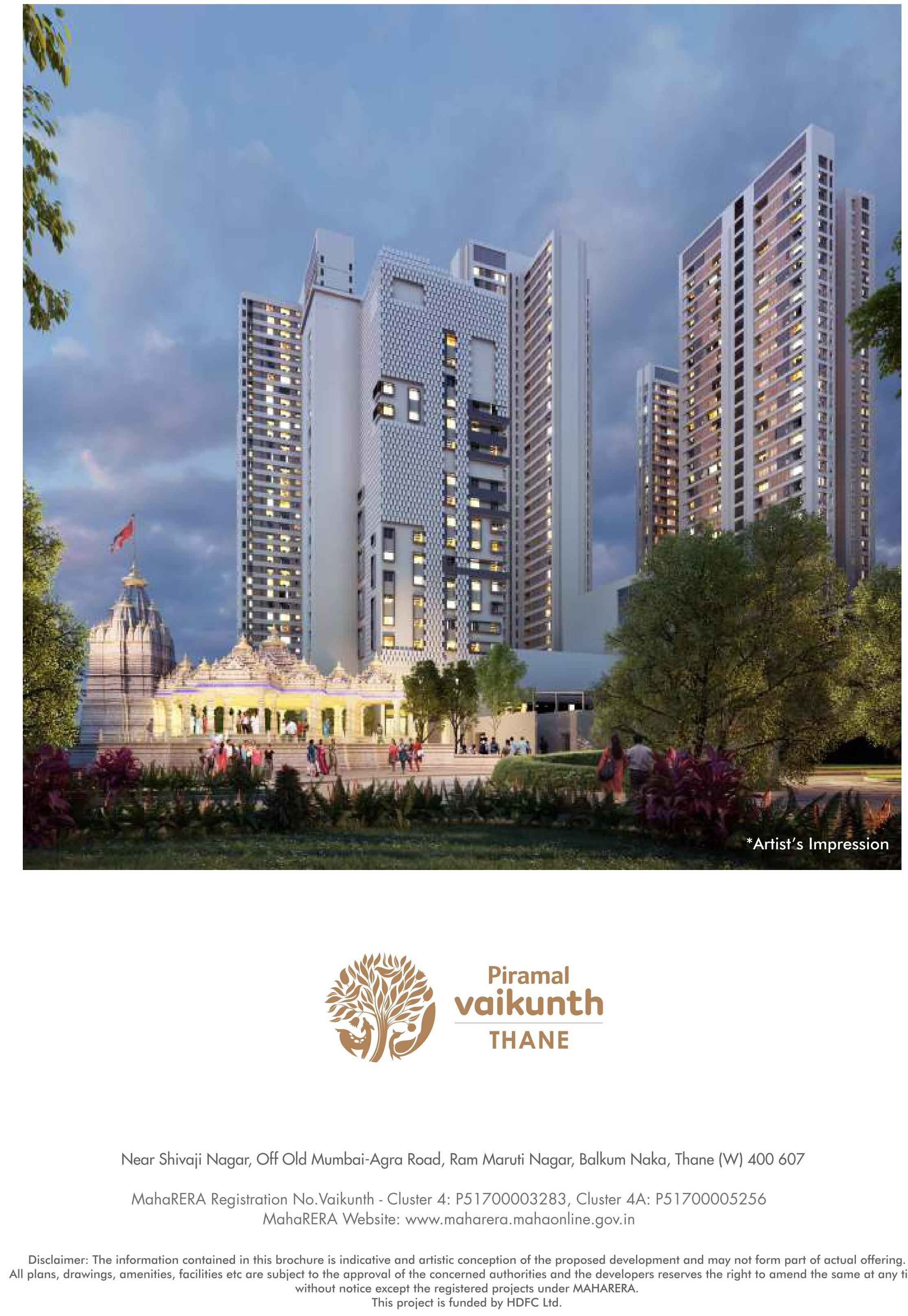 Piramal Vaikunth 2 BHK Cluster 4 4A just Rs 0 83 Cr onwards in Mumbai