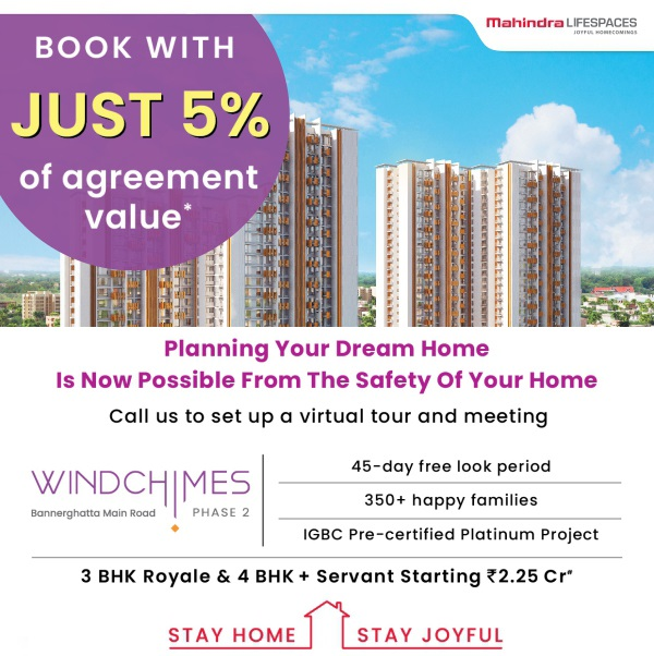 Book with just 5 of agreement value at Mahindra Windchimes in Bangalore