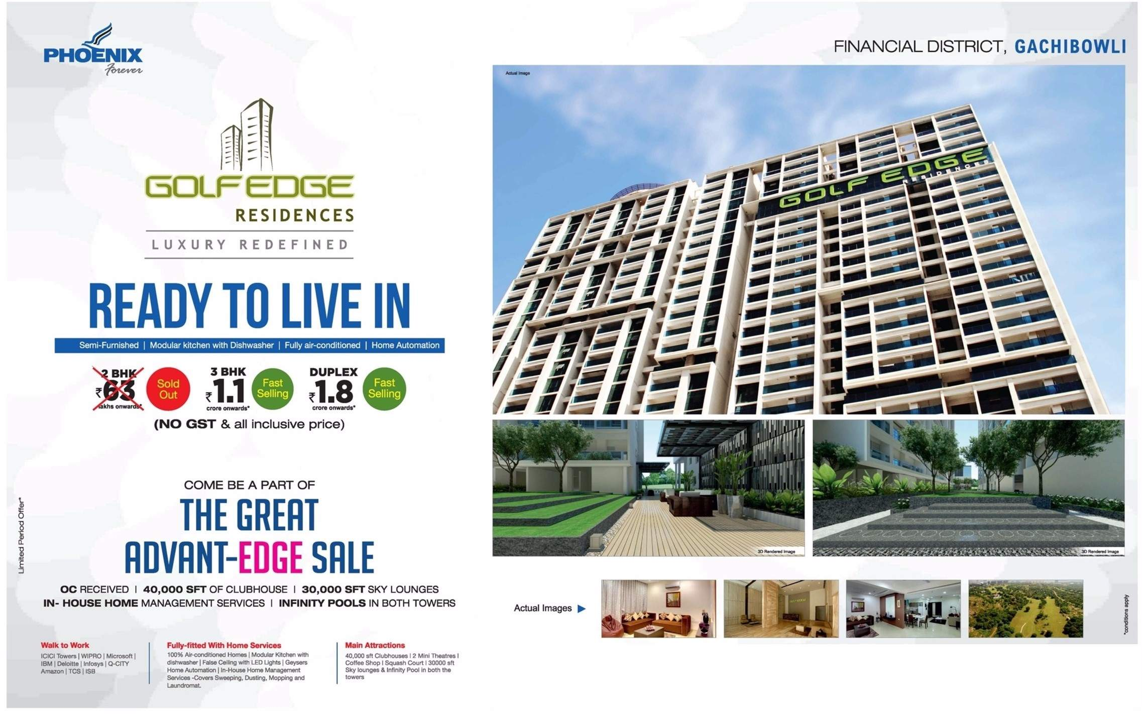 Come Be A Part Of The Great Advant Edge Sale At Phoenix Golf Edge In Hyderabad Zricks Com