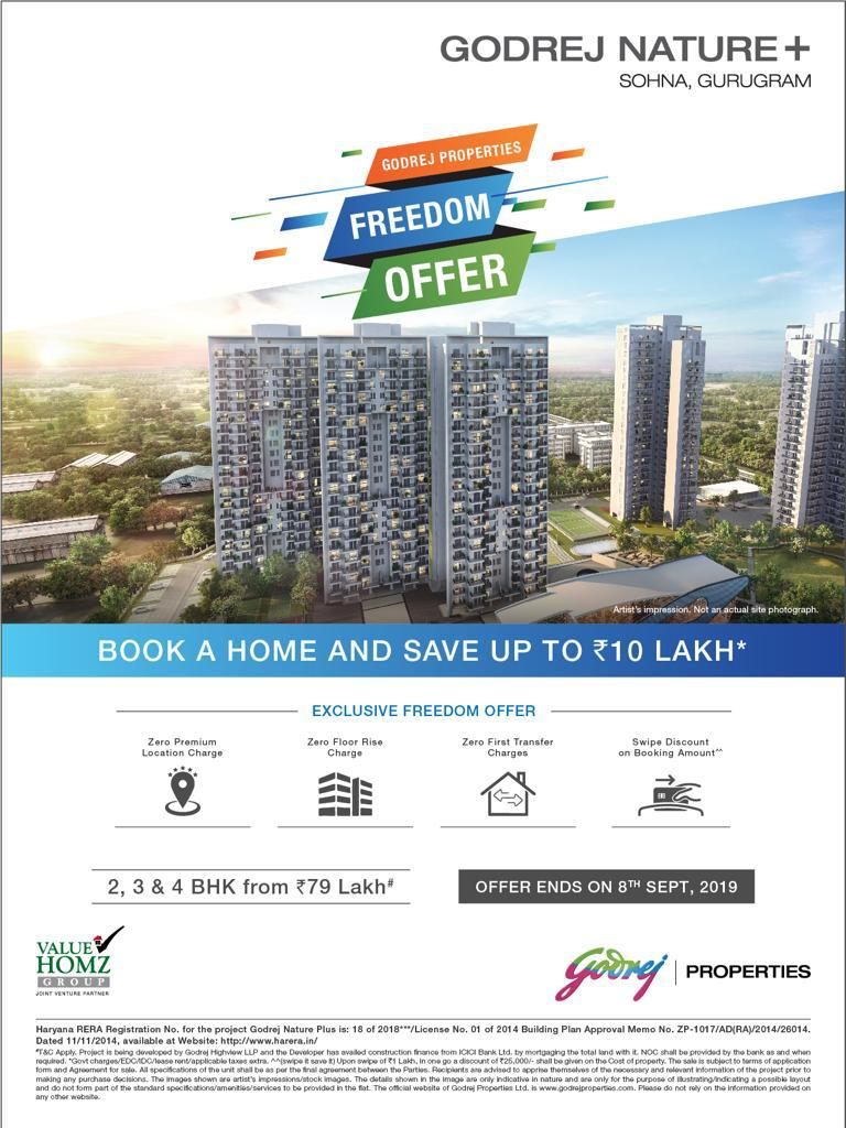 Book a home and save up to Rs 10 Lakh at Godrej Nature Plus Sohna Gurgoan