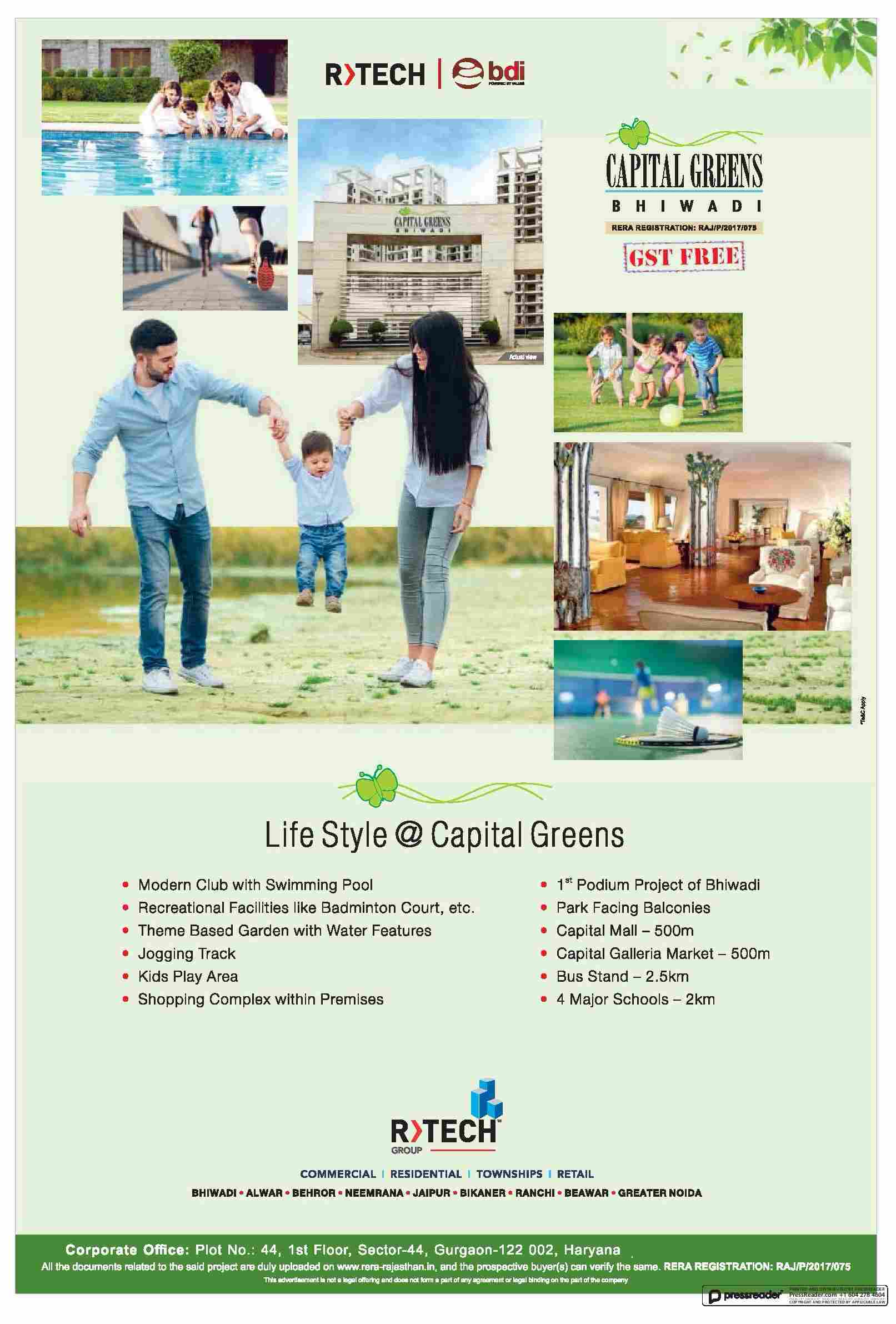 Enjoy The Modern Lifestyle At R Tech Capital Greens Bhiwadi