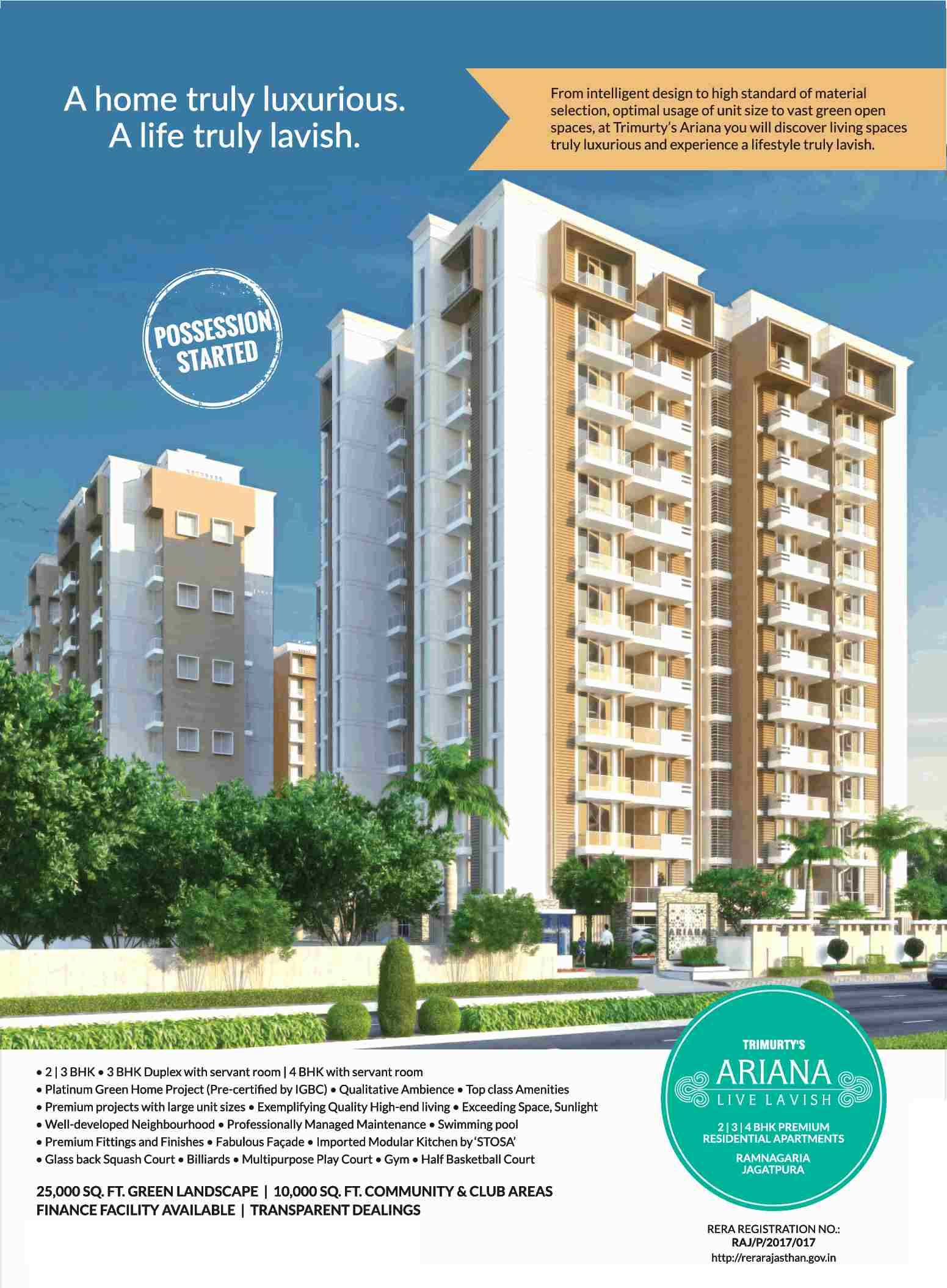 Possession started at Trimurty Ariana in Jaipur - Zricks.com