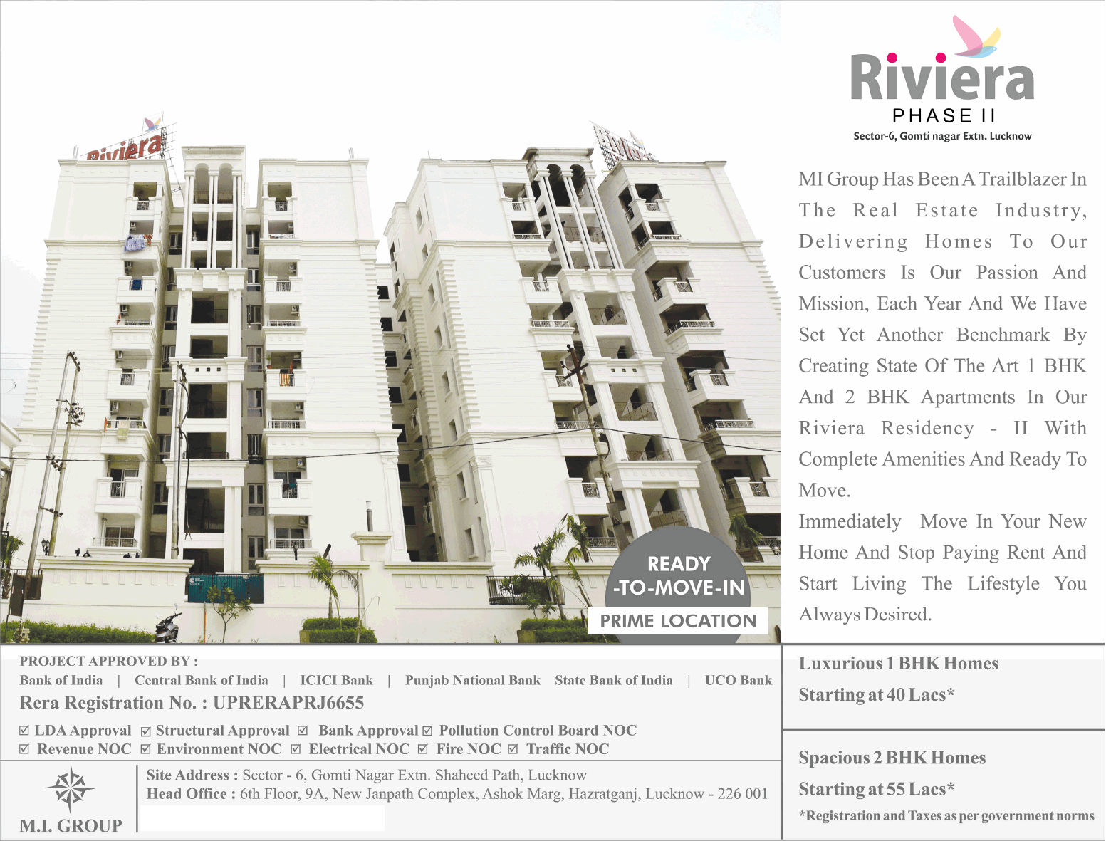 Luxurious 1 and 2 BHK homes Rs 40 Lac at MI Riviera Residency Phase 2 Lucknow