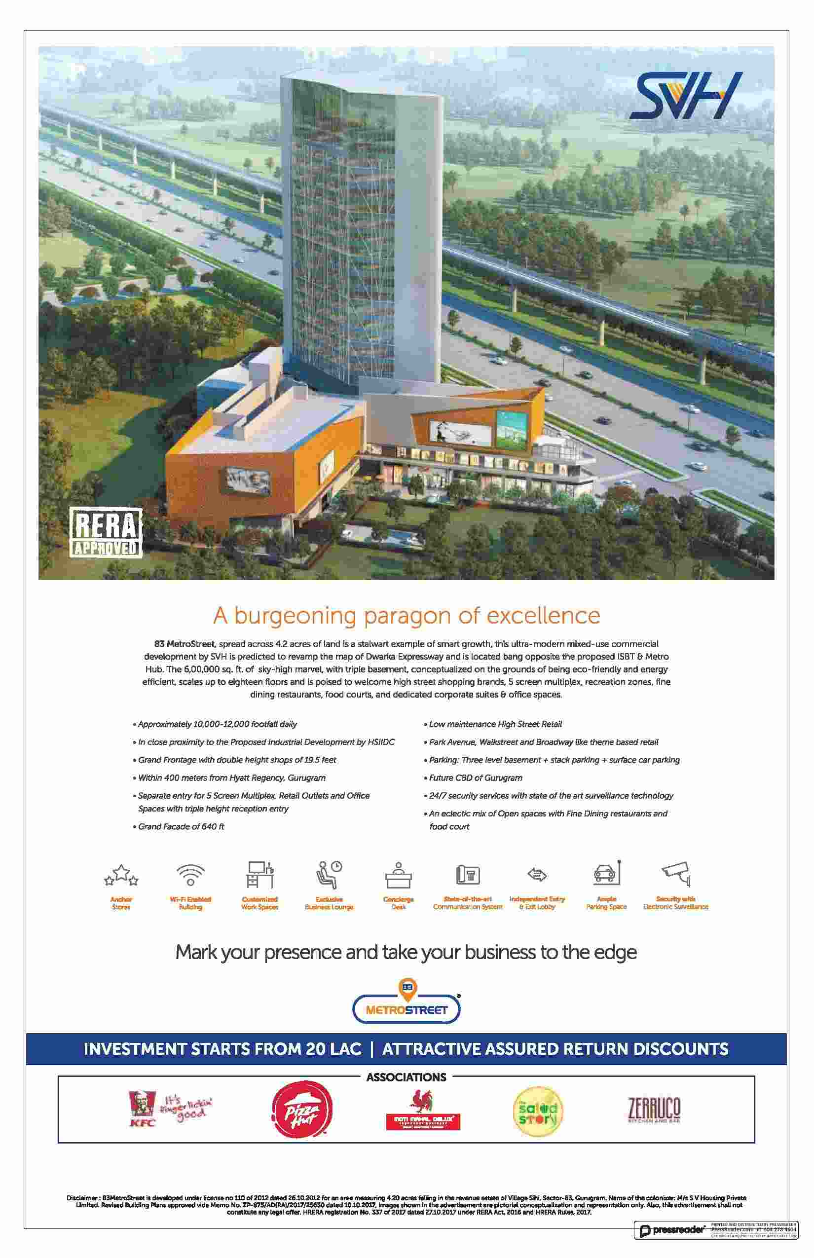 Make your presence take your business to the edge at SVH 83 Metro Street in Gurgaon