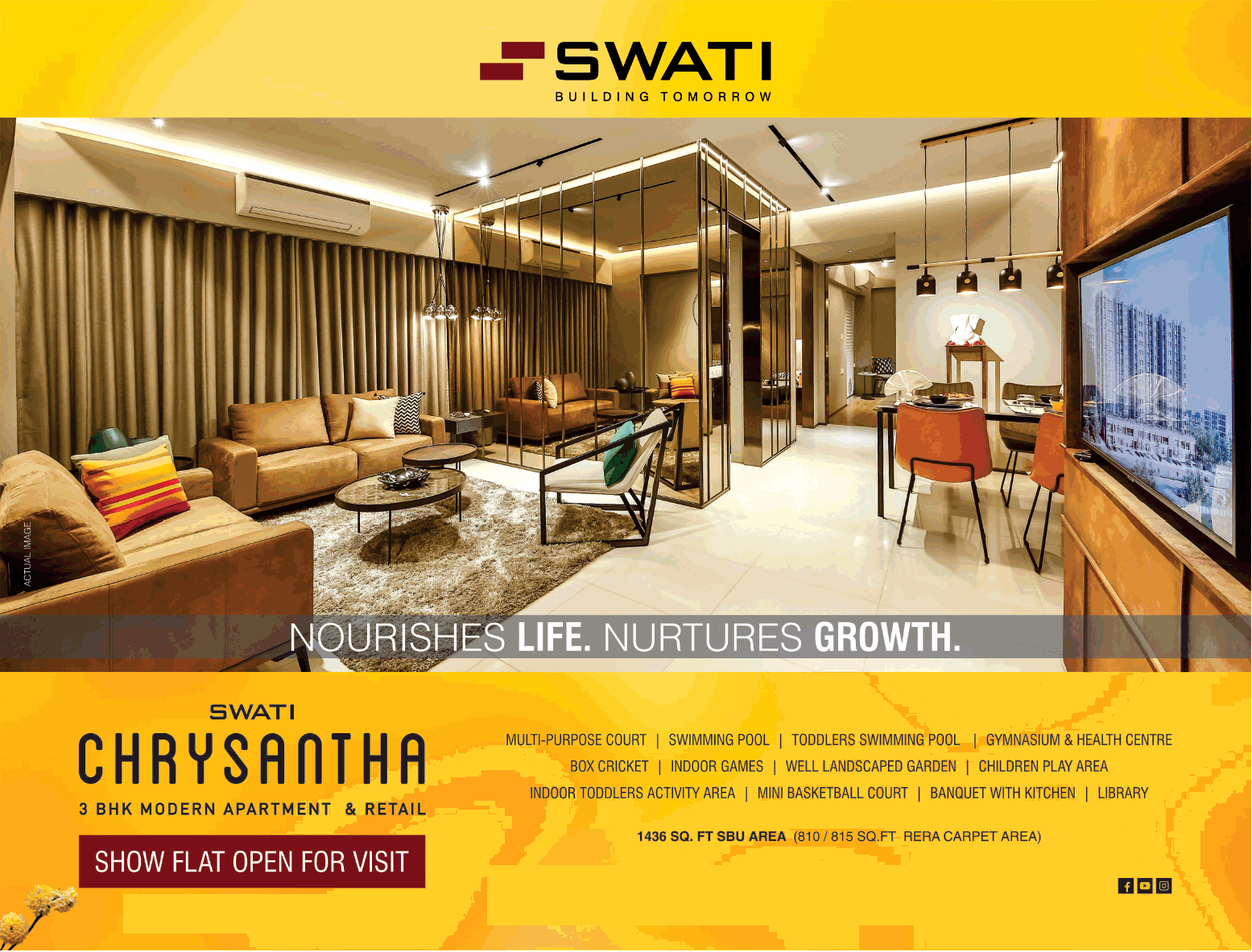 Avail 3 BHK apartment and retail at Swati Chrysantha Ahmedabad