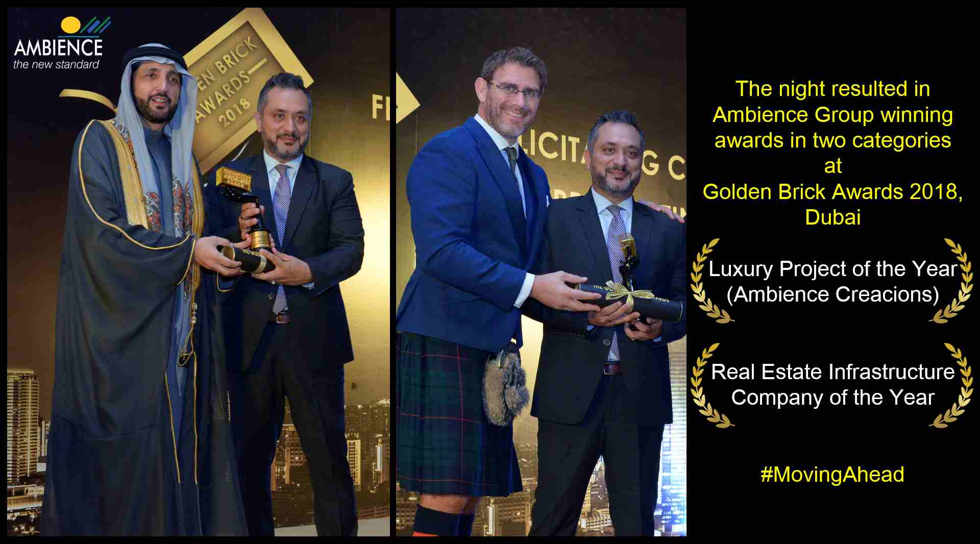 Ambience Group won 2 awards at Golden Brick Awards 2018 Dubai