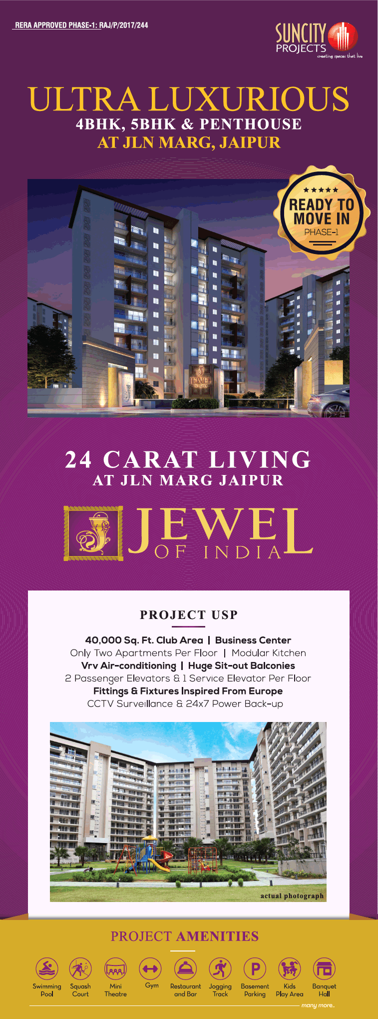 Ultra luxurious 4BHK 5BHK and penthouse at Suncity Jewel of India in Jaipur