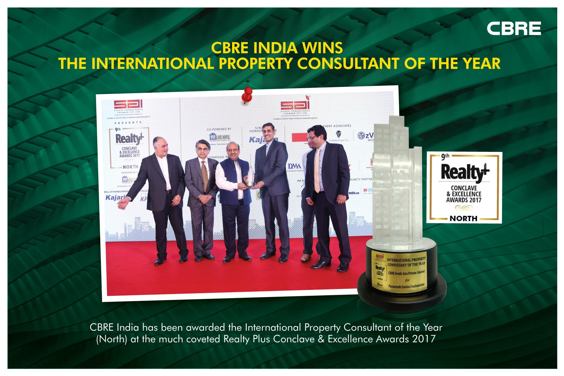CBRE India awarded International Property Consultant of the Year at Realty Plus Conclave Excellence Awards 2017