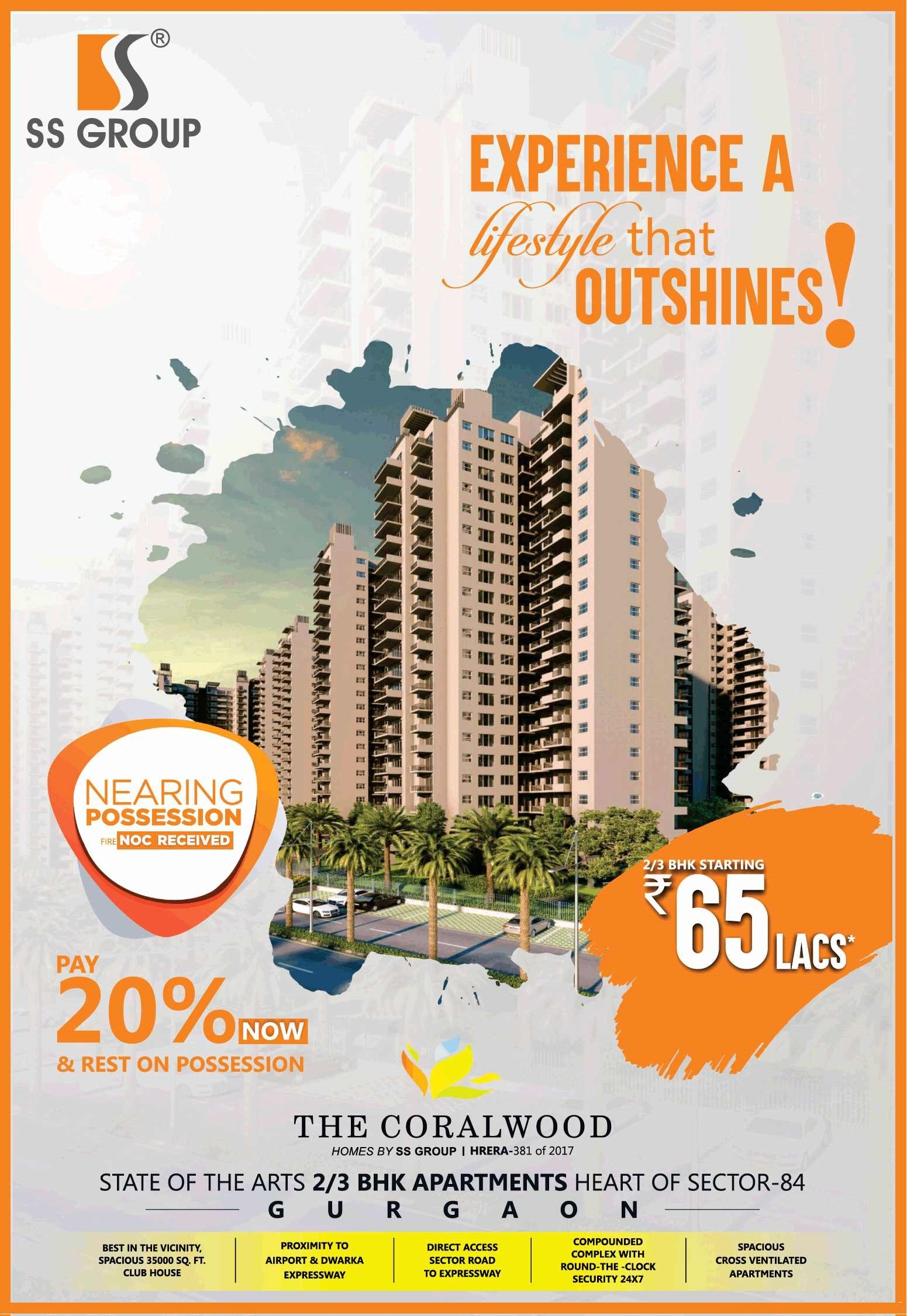 Pay 20 now rest on possession at SS The Coralwood in Gurgaon