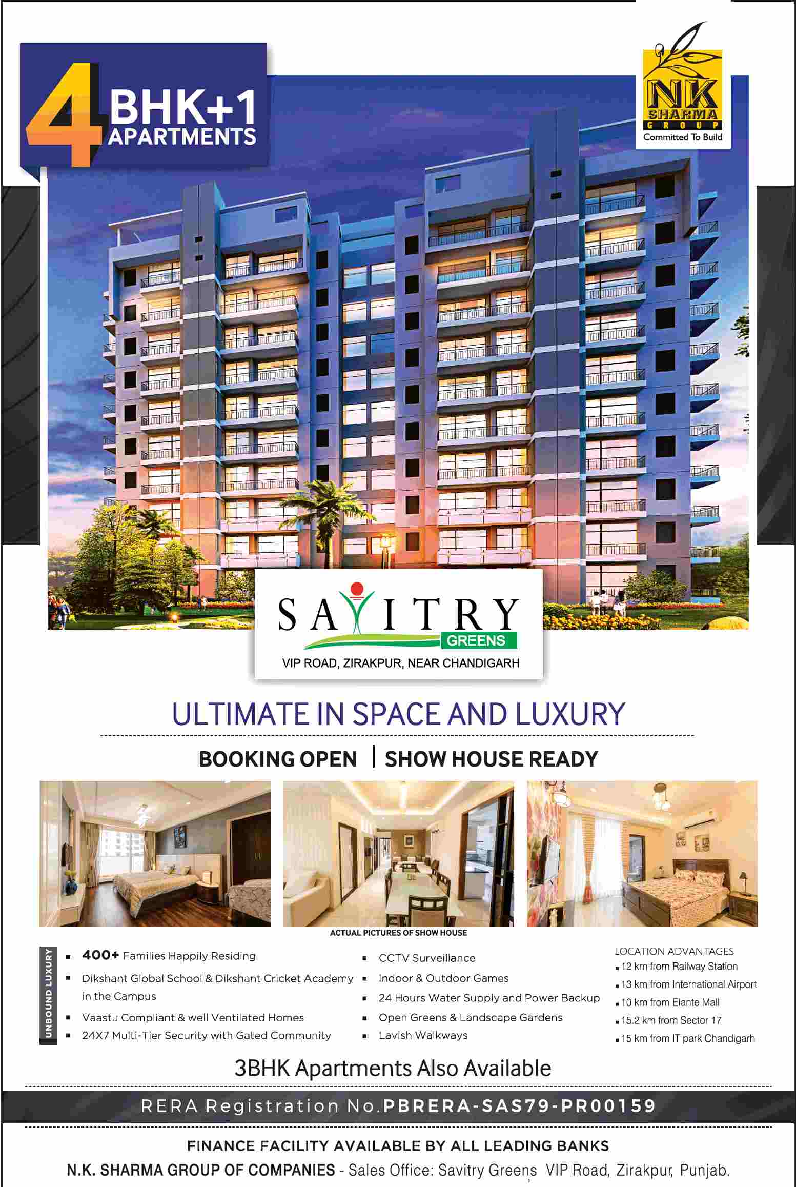 Invest in homes with ultimate space and luxury at NK Savitry Greens in Zirakpur