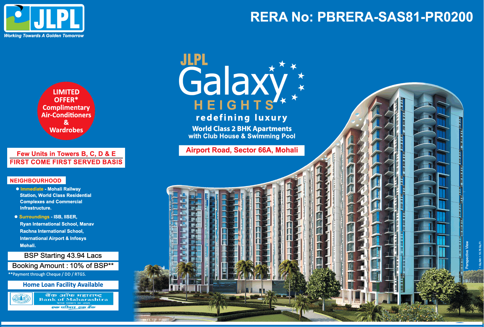 JLPL Galaxy Heights presenting world class 2 bhk apartments in Mohali
