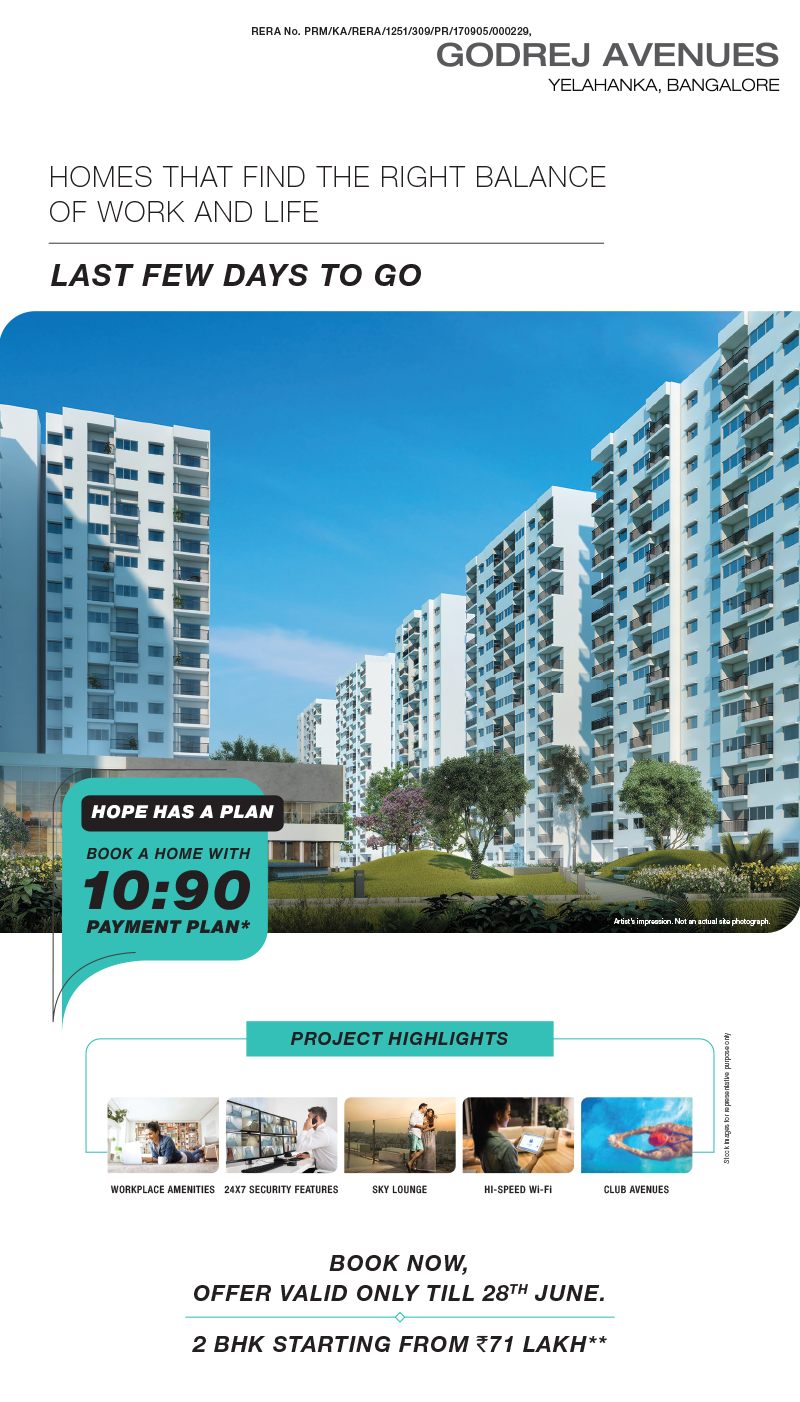 Last few days to go avail 10 90 payment plan at Godrej Avenues Yelahanka in Bangalore