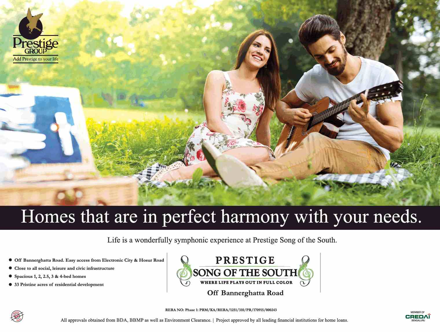 Book home that is in perfect harmony with your needs at Prestige Song Of The South Bangalore