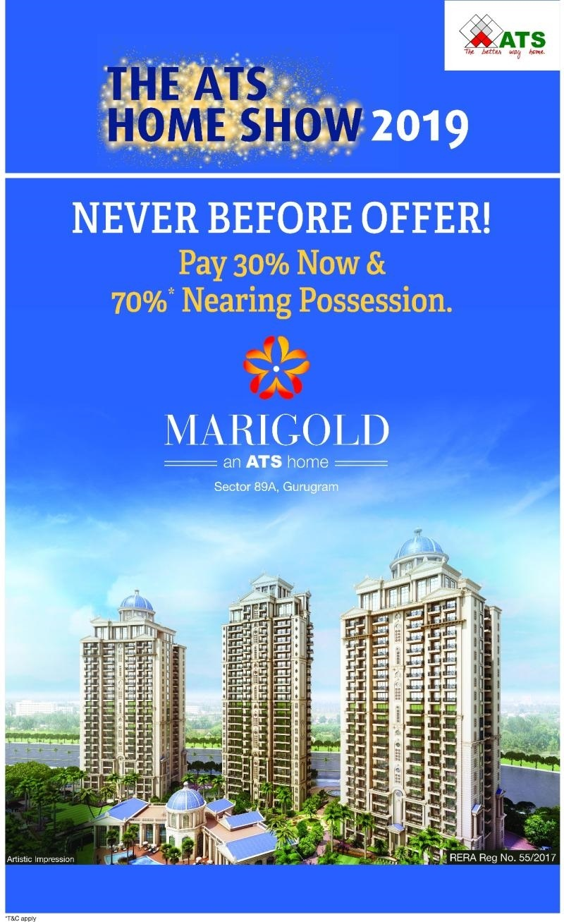 ATS Marigold offers Pay 30 now 70 nearing possession in Gurugram
