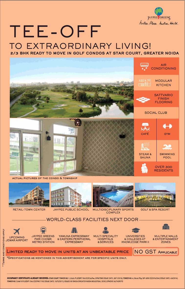 Limited ready to move in units at an unbeatable price at Jaypee Greens Star Court Greater Noida