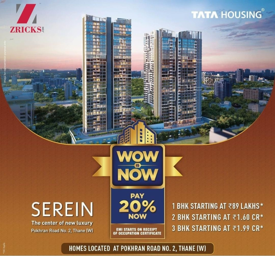 Pay only 20 Now 1BHK starting at only 89 Lakhs at TATA Serein in Thane West Mumbai