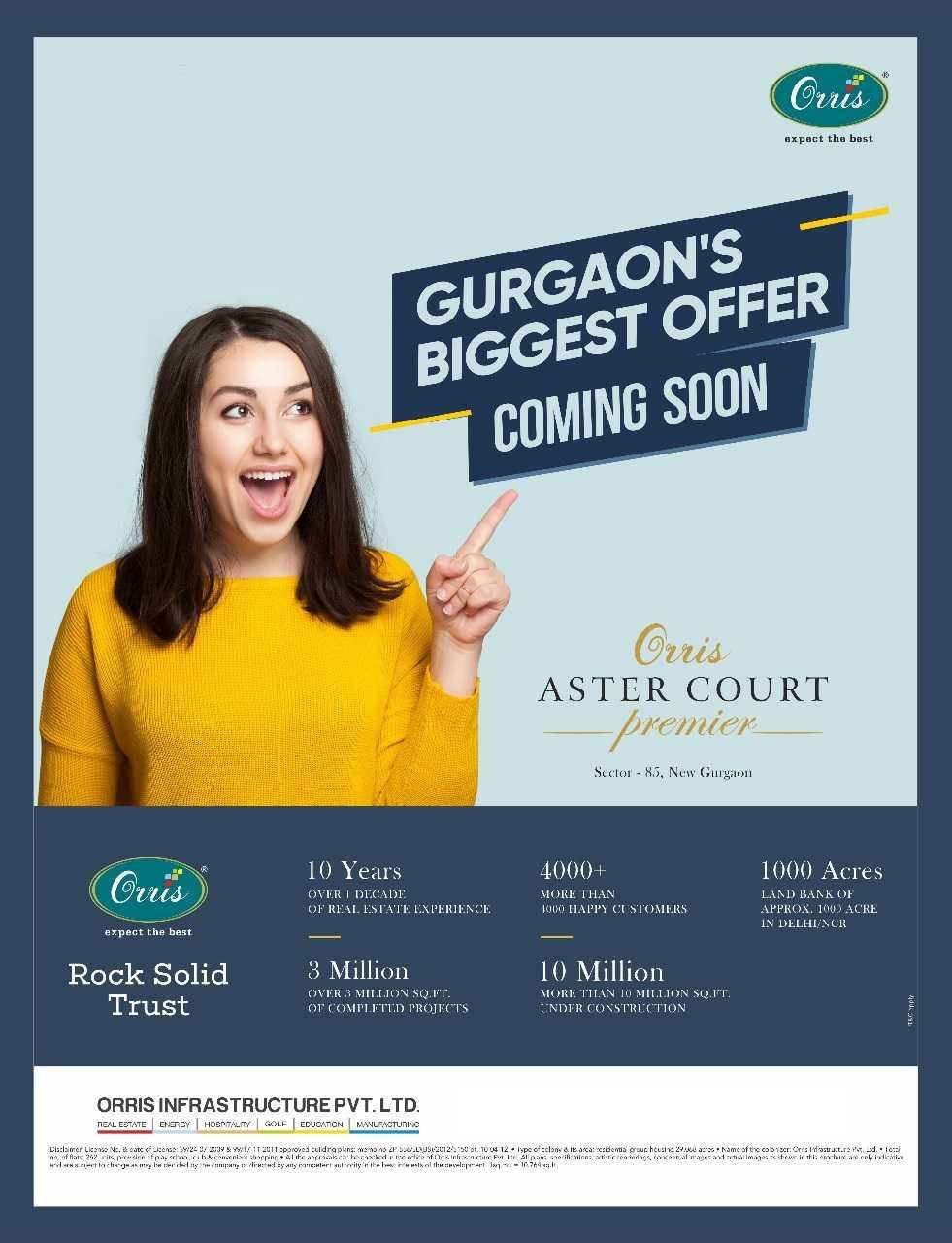 Gurgaon S Biggest Offer Coming Soon At Orris Aster Court Premier Zricks Com