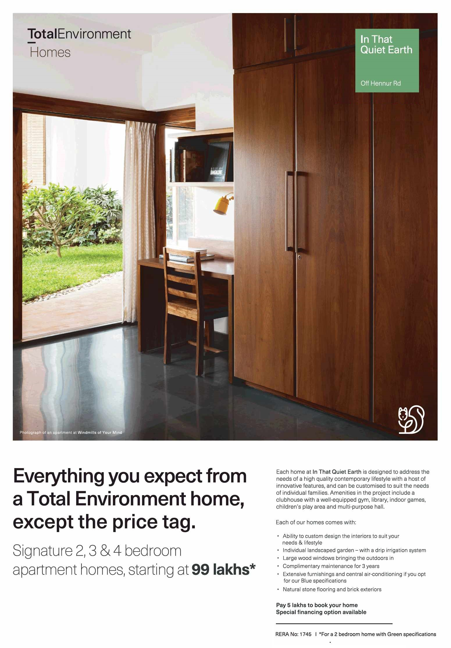 Pay Rs5 Lakhs To Book Your Homes At Total Environment That