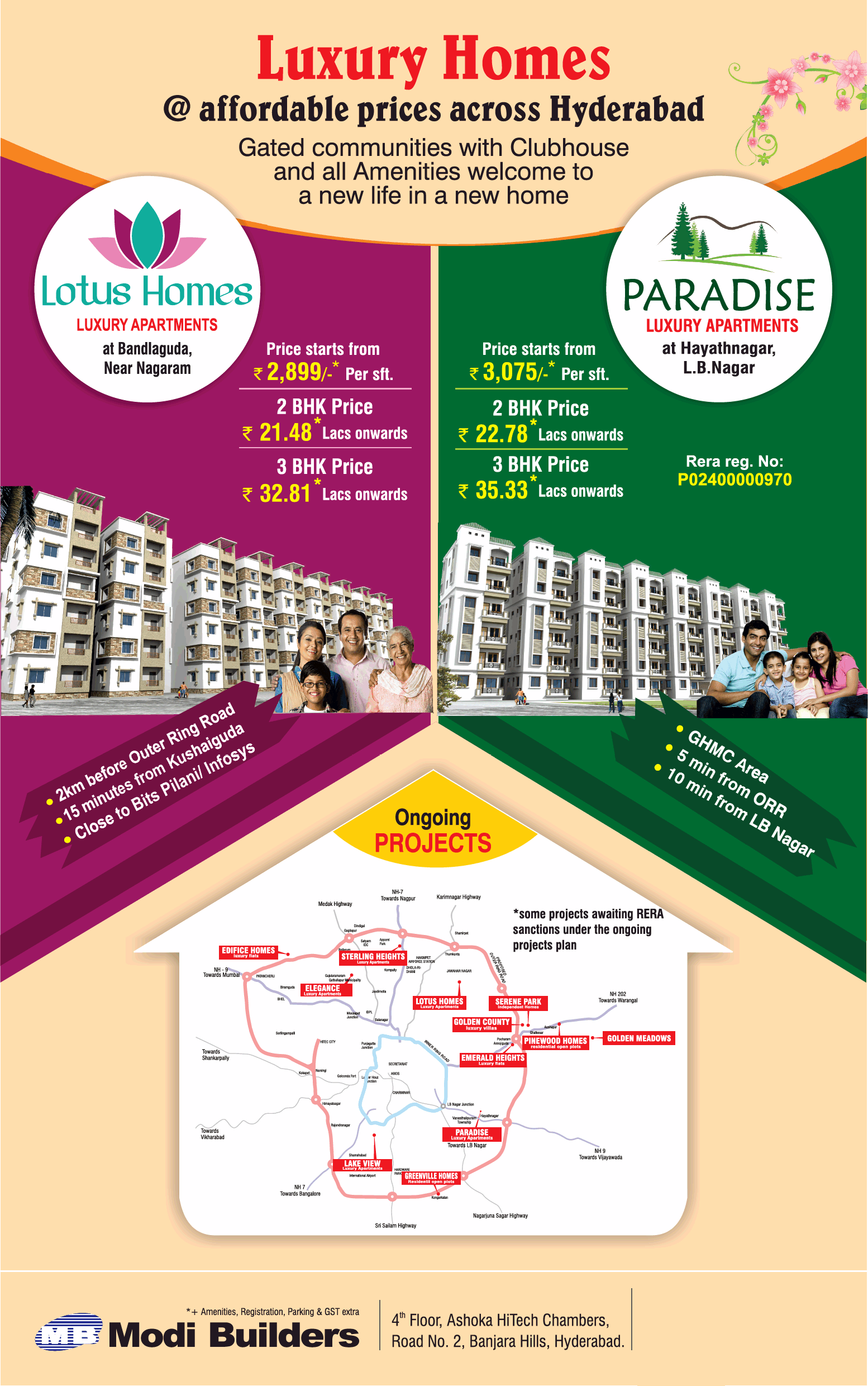 Luxury homes at affordable prices by Modi Builders Hyderabad