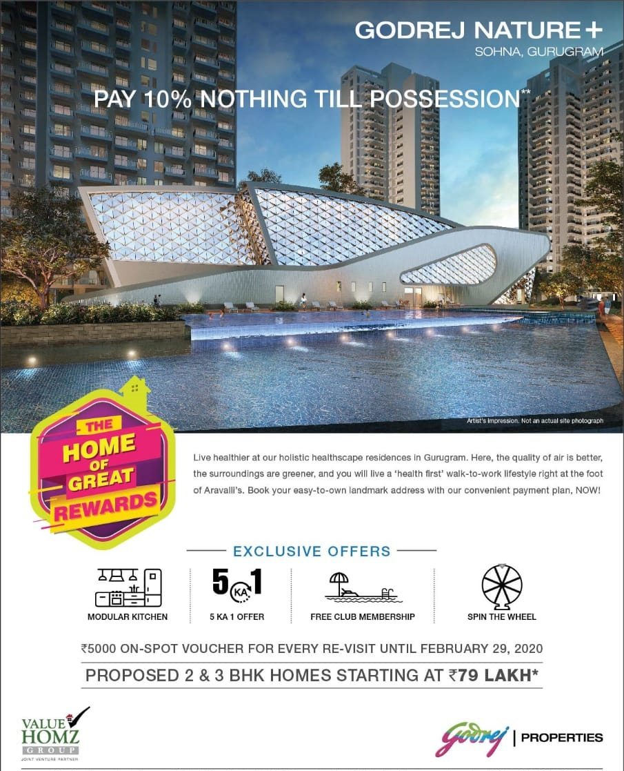 Pay 10 nothing till possession at Godrej Nature Plus in Gurgaon