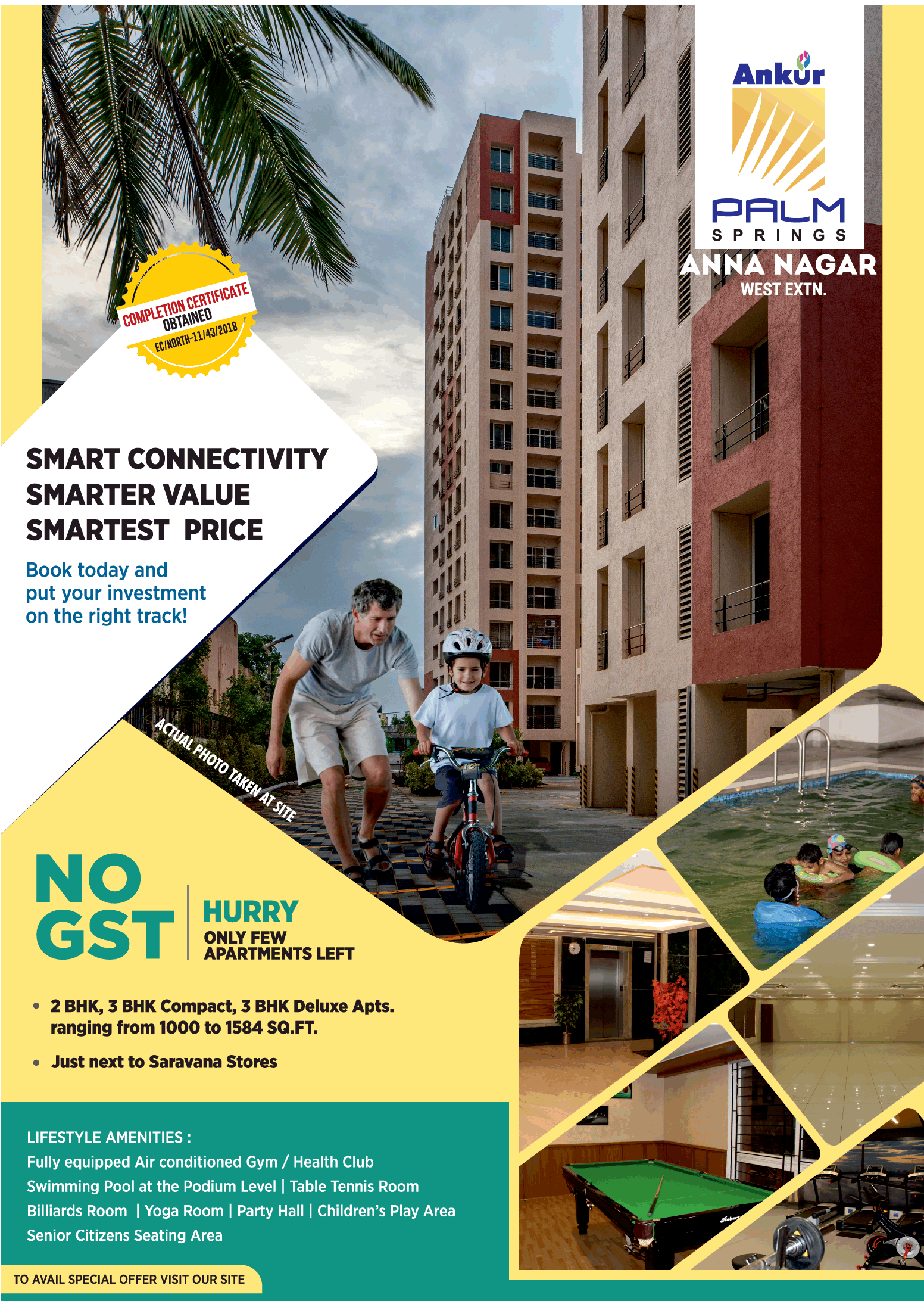 Book today an apartment and put your investment on the right track at Ankur Palm Spring Chennai