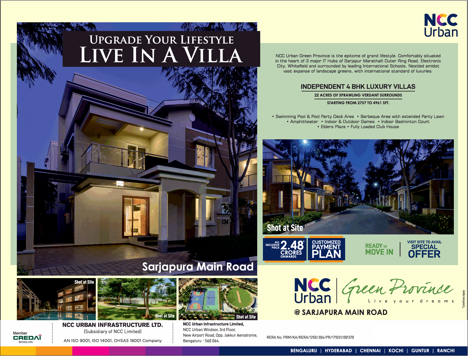 Independent 4 BHK luxury villa at NCC Urban Green Province in Bangalore