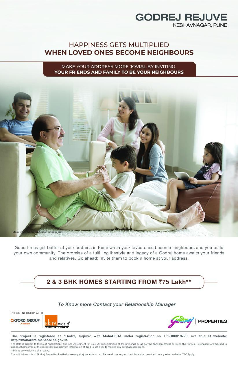 2 3 BHK homes starting from Rs 75 Lakh at Godrej Rejuve in Pune Photo