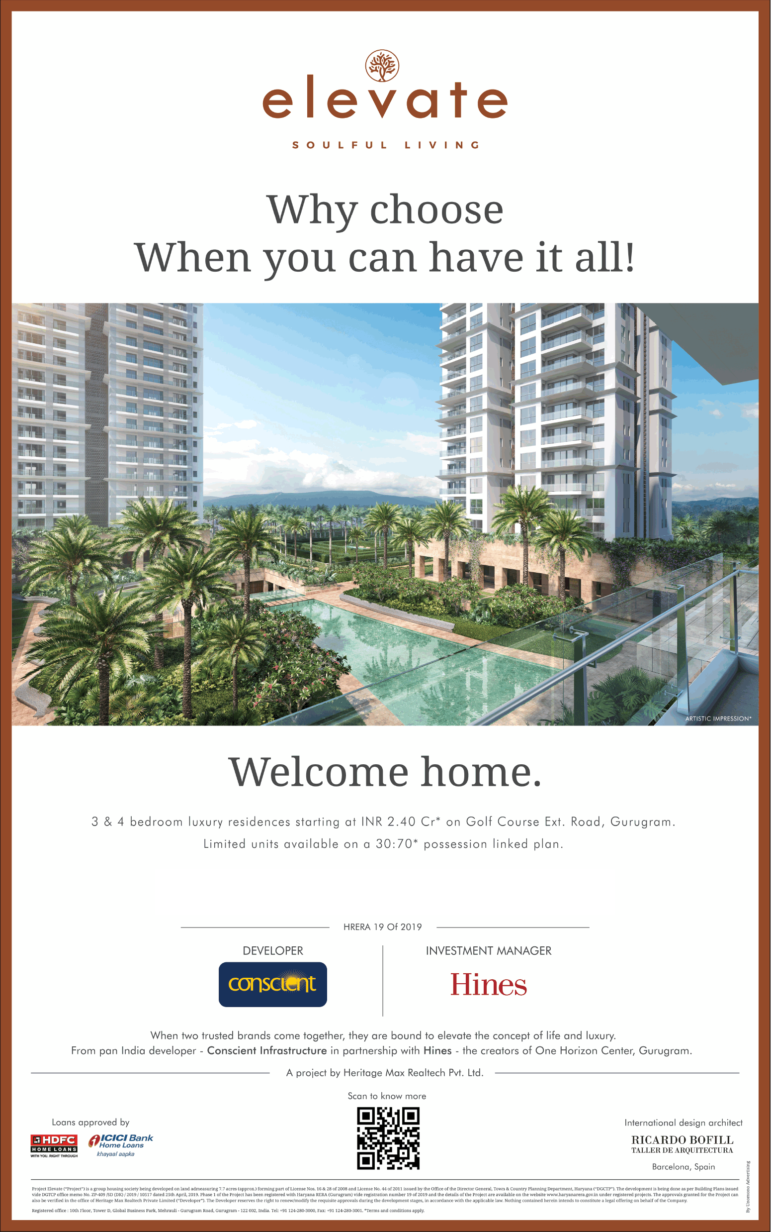 Book 3 4 bedroom luxury residences starting Rs 2 40 Cr at Conscient Hines Elevate Gurgaon