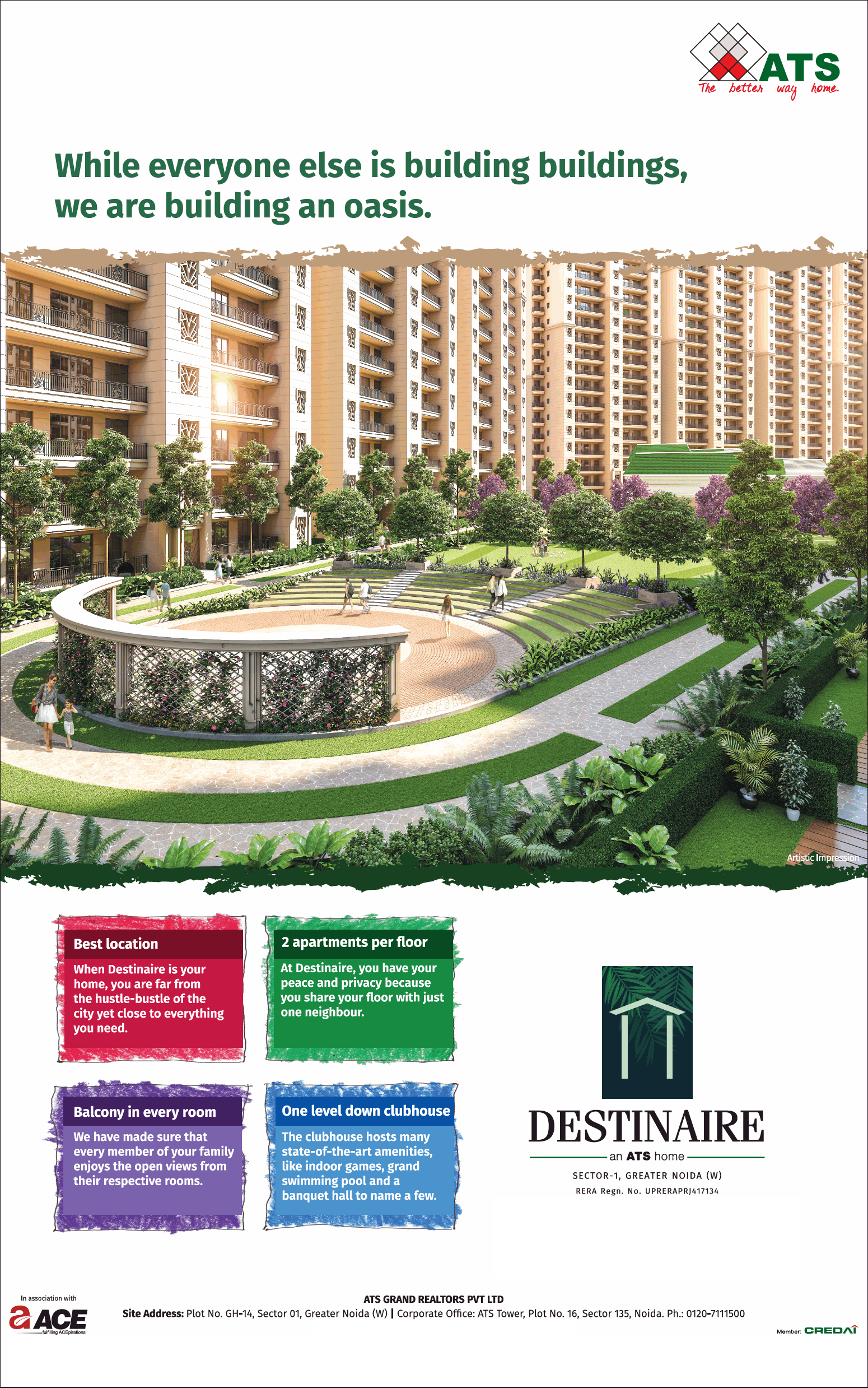Book 3 and 4 BHK apartment at ATS Destiniaire in Great Noida