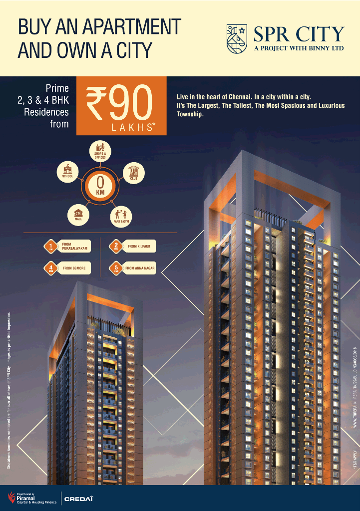 Prime 2 3 4 BHK residences Rs 90 Lac at SPR City Highliving District in Chennai