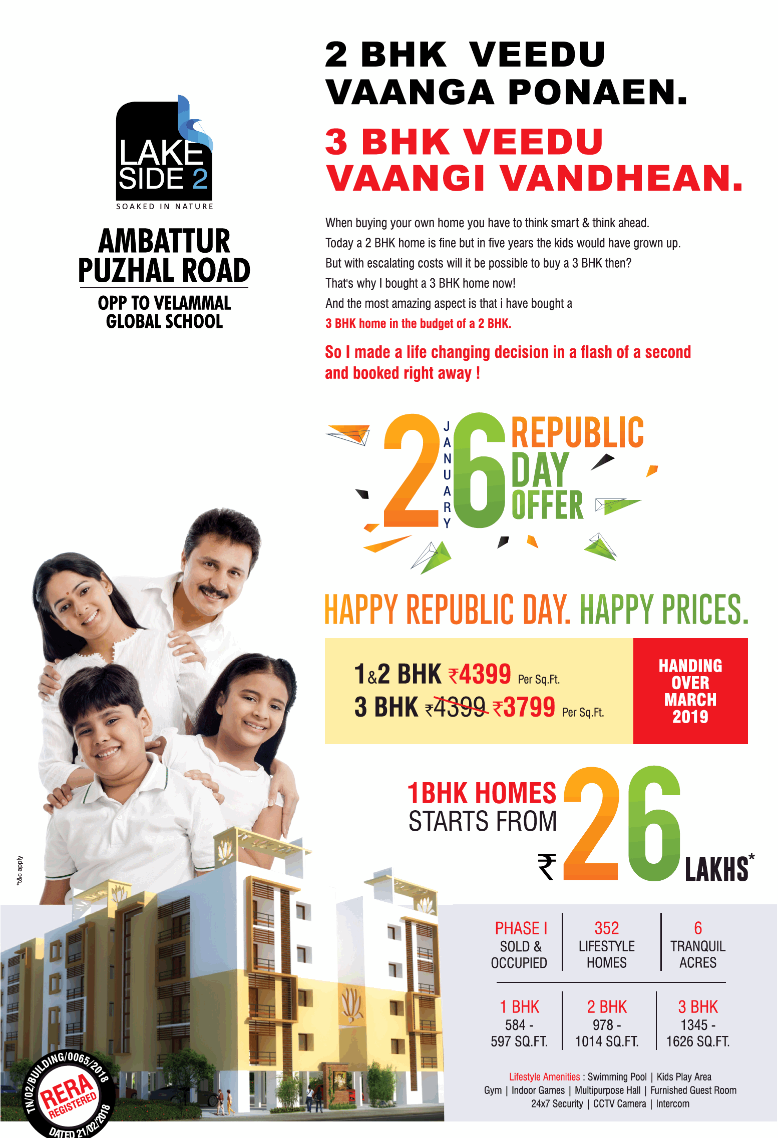Book 1 bhk homes @ Rs  26 lakhs at Megh Lake Side 2 in