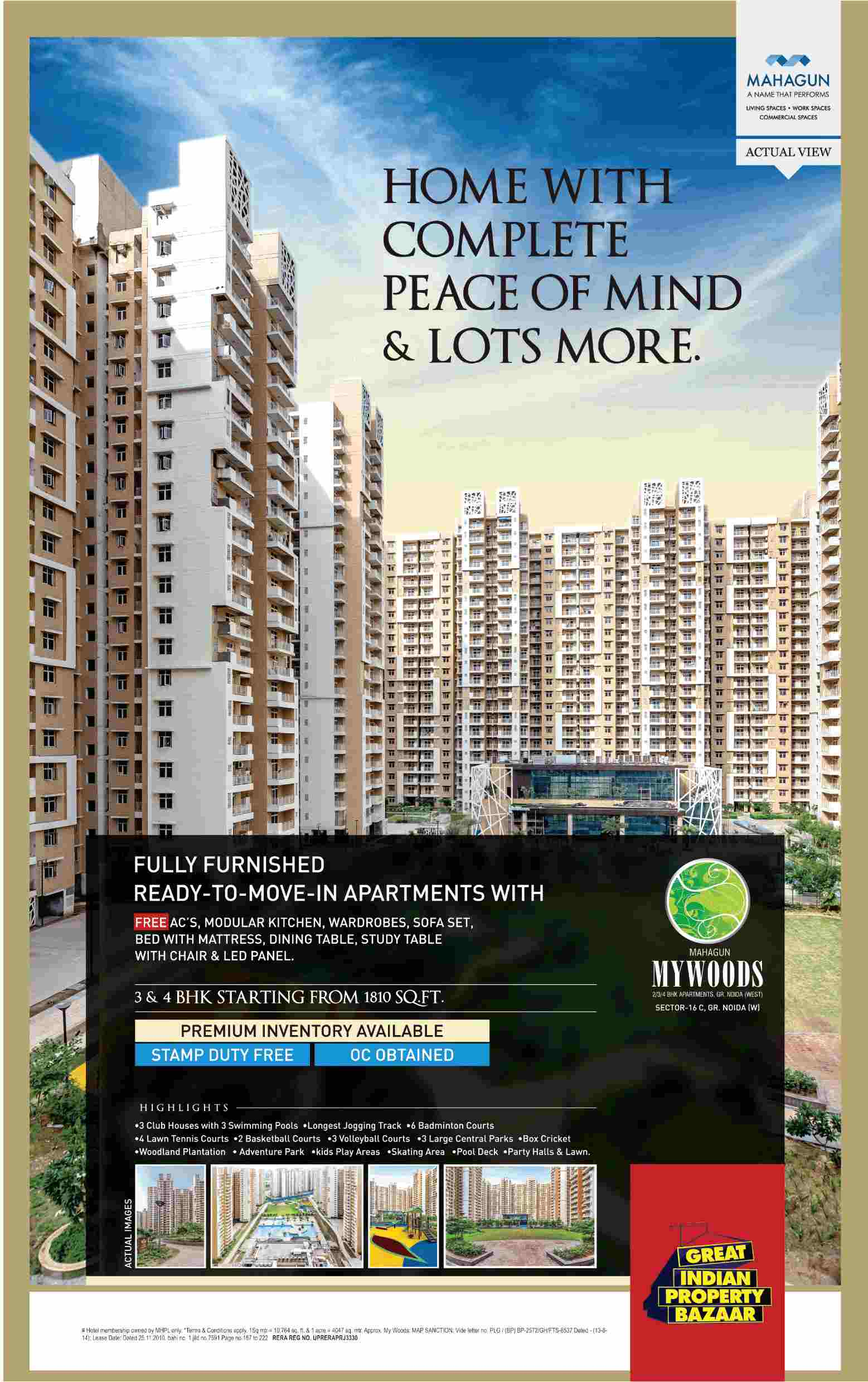 Reside in fully furnished ready to move apartments at Mahagun