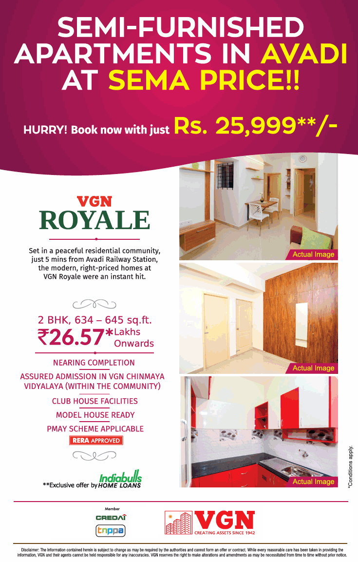 Book your home now with just Rs 25 999 at VGN Royale in Chennai