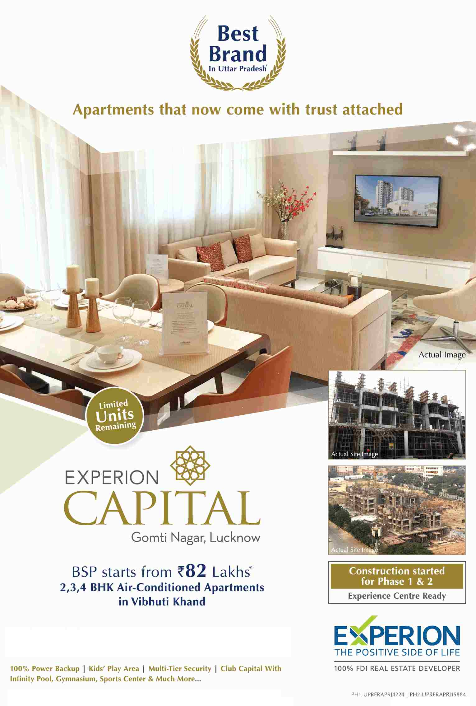 Book air conditioned apartments 82 Lakhs at Experion Capital in Lucknow