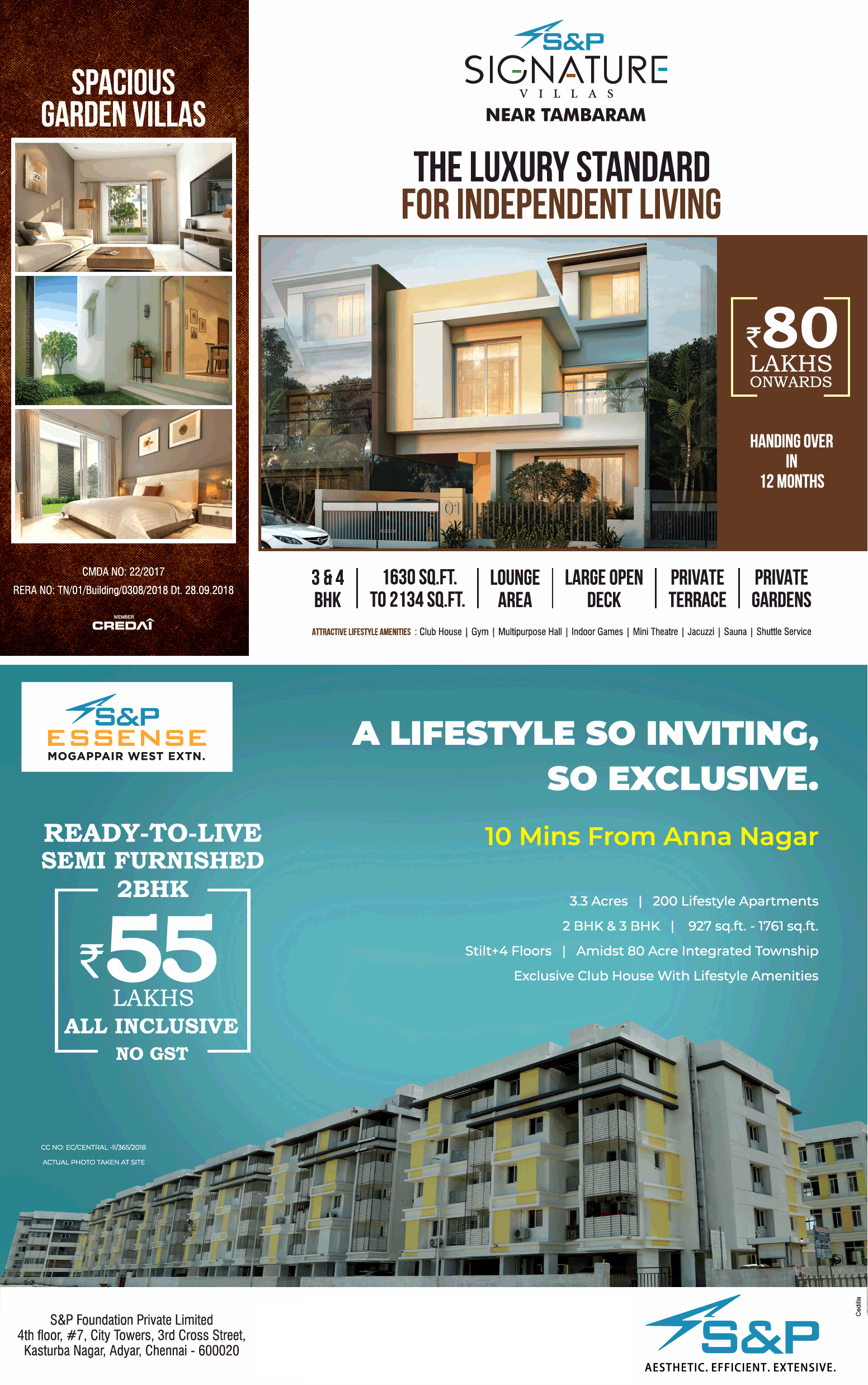 Hurry up book your apartment made by S and P Foundation Chennai