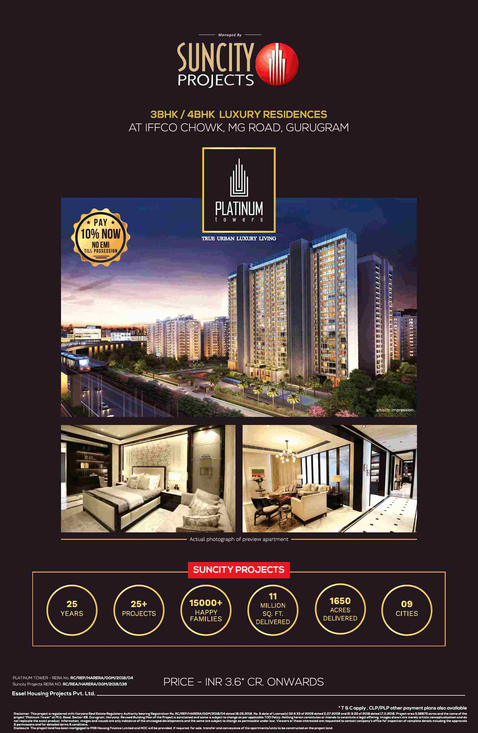 Book 3 4 BHK luxury residences Rs 3 6 cr at Suncity Platinum Towers in Gurgaon