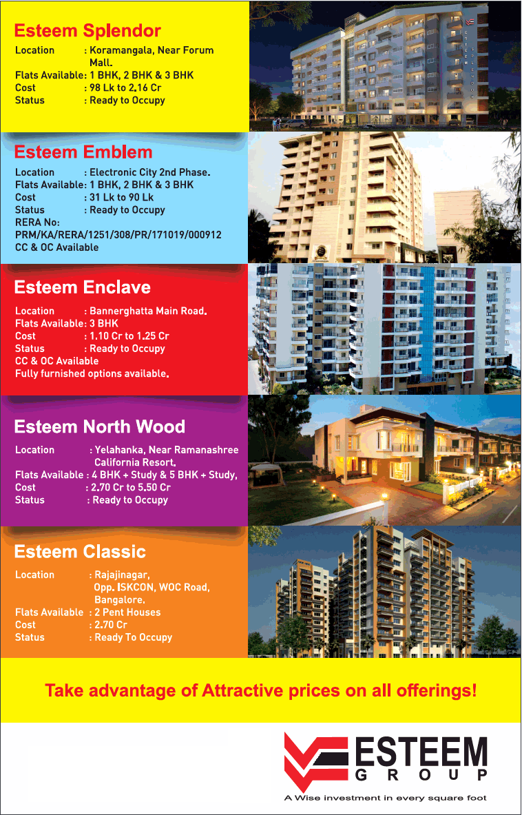Take advantage of attractive prices on all offerings given by Esteem Group Bangalore