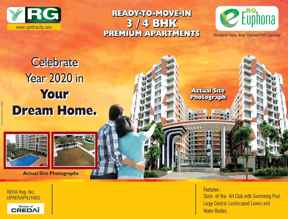 Ready to move in 3 4 BHK premium apartments at RG Euphoria Lucknow