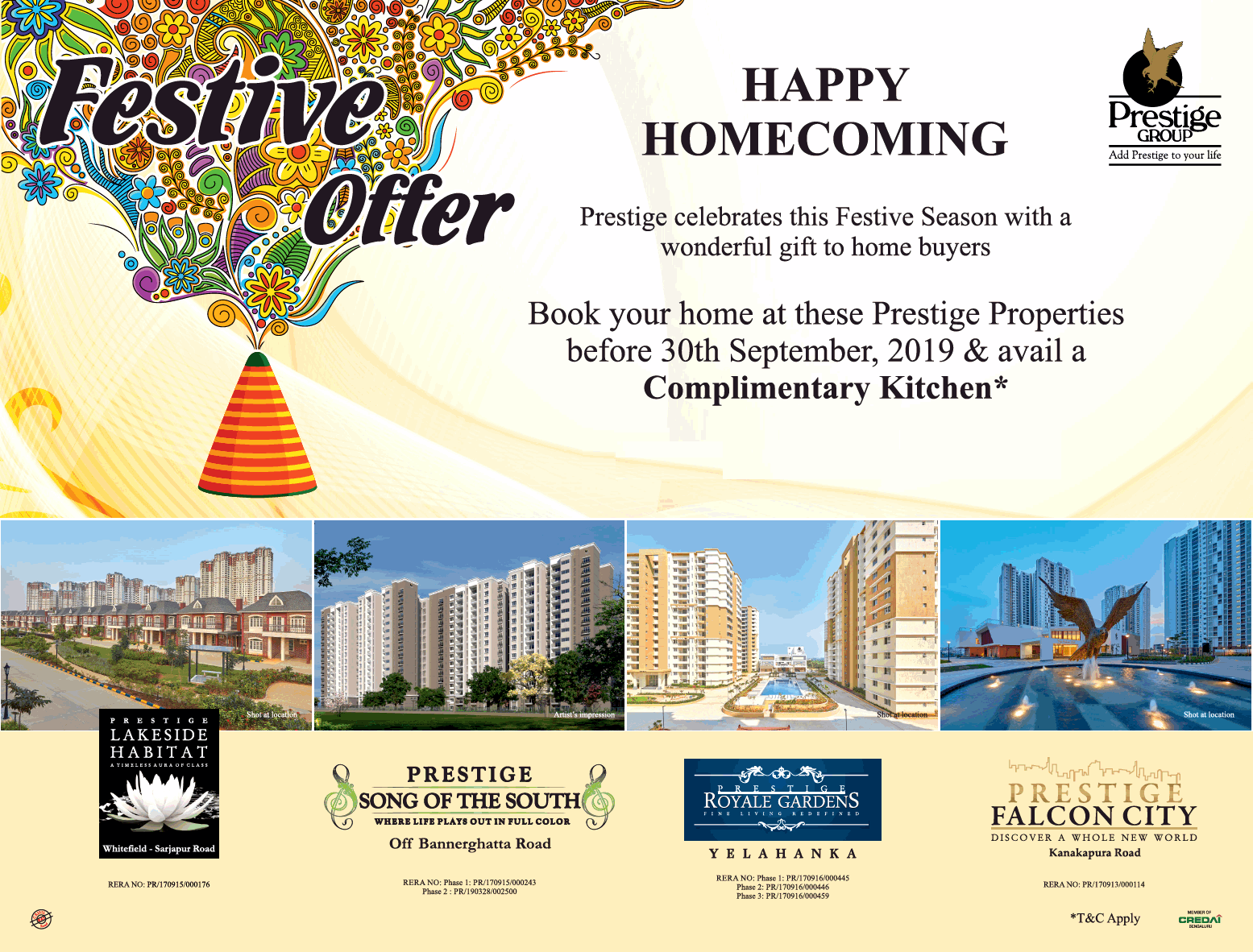 Book your home at these Prestige Properties before 30th September 2019 avail a complimentary kitchen Bangalore