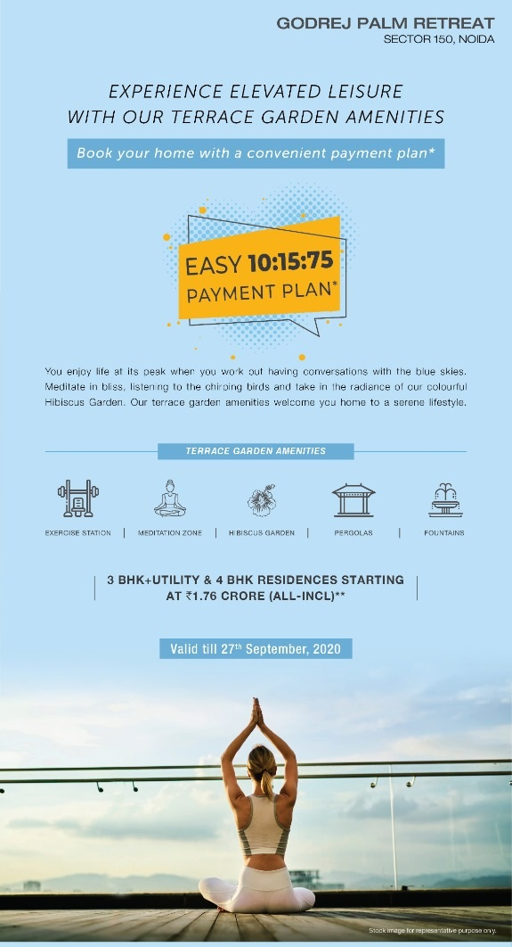 Easy 10 15 75 payment plan at Godrej Palm Retreat Noida