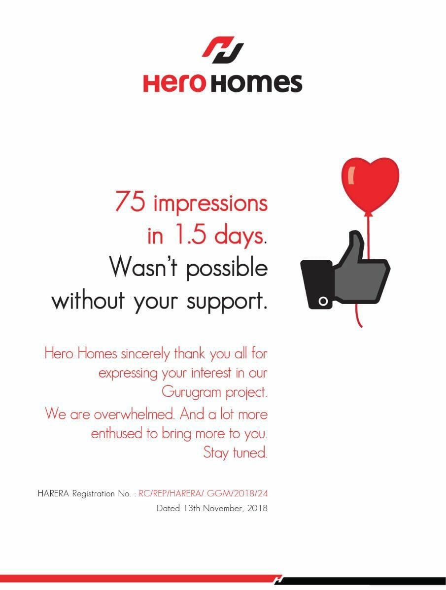 75 impressions in 36 hours at Hero Homes on Dwarka Expressway gurugram