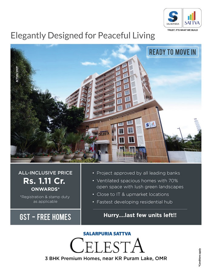 Ready to move in premium homes at Salarpuria Sattva Celesta in Bangalore