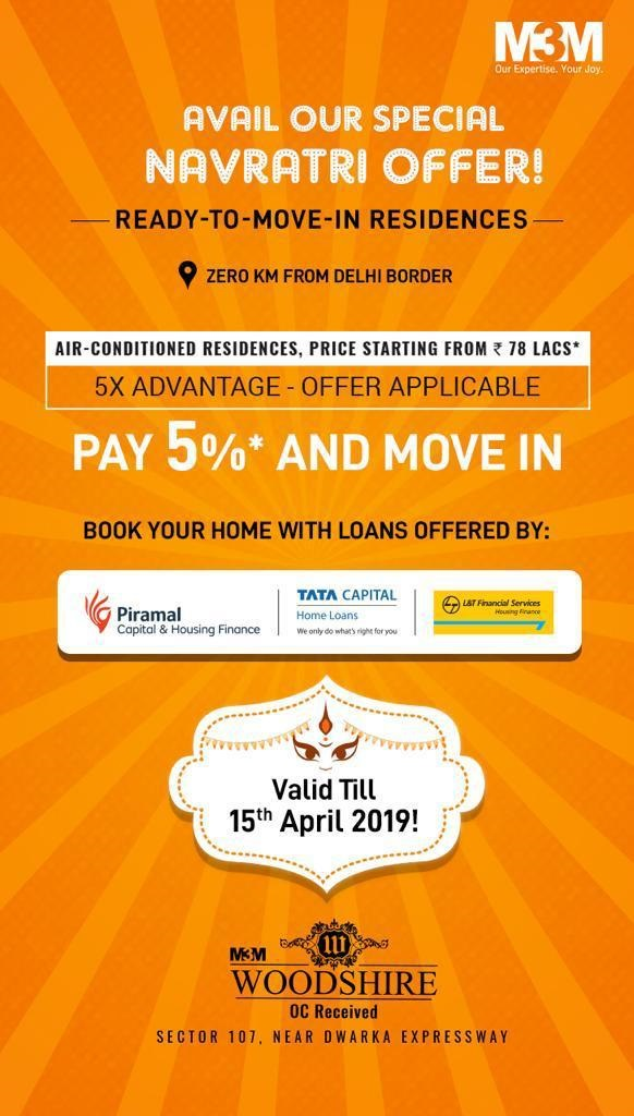 Pay 5 move in at M3M Woodshire in Gurgaon