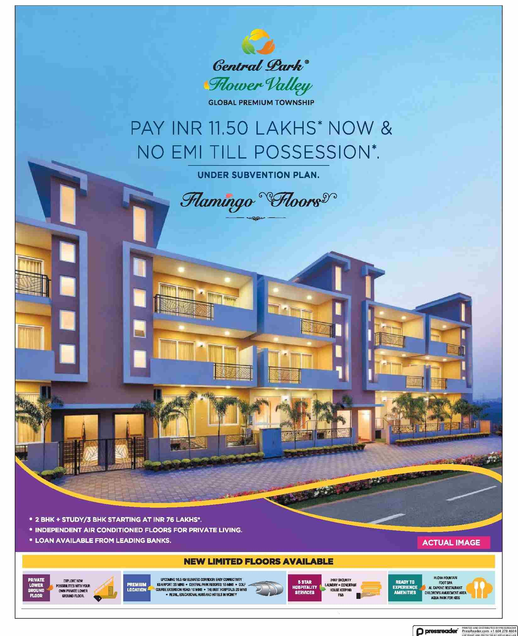 Pay Rs 11 5 Lacs now and no EMI till possession at Central Park 3 Flamingo Floors in Sohna