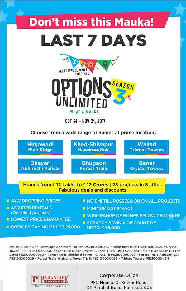 Last 7 days to choose from wide range of homes at prime locations during Paranjape Options Unlimited Season 3 in Pune